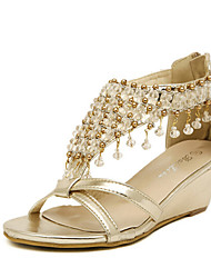 Women's Shoes Leatherette Wedge Heel Wedges/Peep Toe/Platform Sandals Casual Silver/Gold