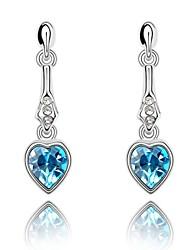 Cherish Fashion Drop Earring Plated with 18K True Platinum Aquamarine Crystallized Austrian Crystal Stones