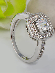 High Quality Fashion Women Platinum 10 KT White Square Zircon Ring