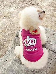 Коты Собаки Футболка Розоватый Одежда для собак Лето Весна/осень Тиары и короны Мода
