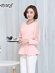 BAOTU@Women's Vintage/Sexy/Casual/Cute Micro-elastic Long Sleeve Regular T-shirt