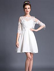 vestito lunghezza del vestito lunghezza del manicotto elasticità stile di abbigliamento vintage femminile (tessuto)