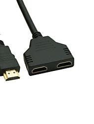banhado a ouro HDMI v 1.4 macho para HDMI dupla divisor adaptador feminino
