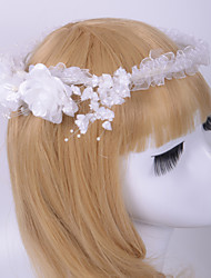Fashion bride Tulle Wreaths With Imitation Pearl Headpiece