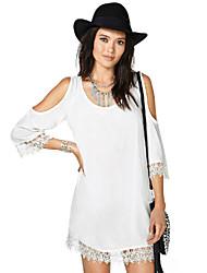 2015 New Summer Dress Three Quarter Sleeve Trim Cuff Back Deep-V Neck Off the Shoulder Women Mini Dress