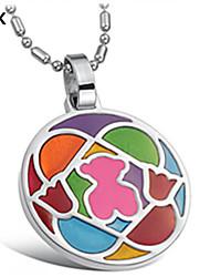 OPK®Exquisite Fashion Color Mosaic Teddy Bear Necklace