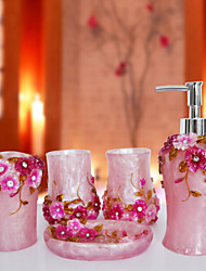 The Gorgeous Manor Empire Pattern Bathroom Ware 5 Sets/Pink