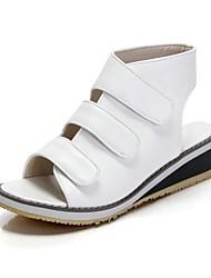 Zapatos de mujer - Tacón Bajo - Comfort / Talón Descubierto - Sandalias - Oficina y Trabajo / Vestido - Semicuero - Negro / Blanco