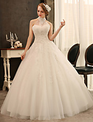 Ball Gown Wedding Dress - Ivory Floor-length High Neck Tulle/Charmeuse