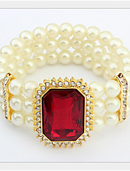 Lucky Doll Women's All Matching Crystal Imitation Pearl Zirconia Bracelet