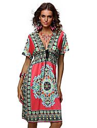 Women's Boho Holiday Loose Dress,Print V Neck/Deep V/Cowl/Bow Above Knee Short SleeveBlue/Pink/Red/White/Beige/Black/Brown/
