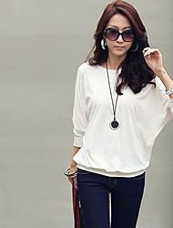 Women's Casual Cute Work Plus Sizes Micro Elastic Long Sleeve Regular T-shirt (Cotton)