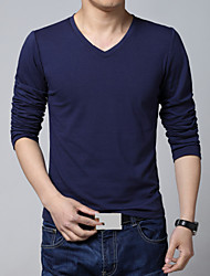 Men's Casual V Neck Solid Long Sleeved T-Shirts