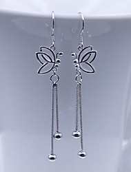 925 KIKI long hollow Silver Butterfly Earrings