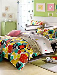 Floral and Striped Queen Size Duvet Cover Without Comforter