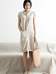 Women's Casual / Print Solid Shift Dress , Stand Knee-length Linen