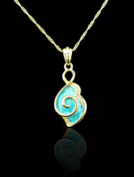 18K Real Gold Plated Blue Pendant 1.8*4.5CM