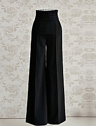 Women's Zipper Loose High Waist Flare Wide Leg Pants Plus Size Black