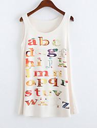 Women's Round Collar Letter Print Tank Top