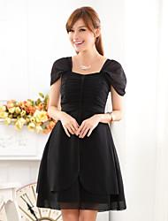 Knee-length Chiffon Bridesmaid Dress A-line Square