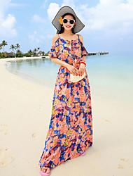 Women's  Women's Condole Belt Broken Flower Beach Dress(Chiffon)