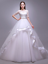 Ball Gown Wedding Dress-Floor-length Jewel Tulle