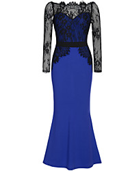 Women's Lace/Maxi Micro-elastic Long Sleeve Maxi Dress (Lace/Cotton Blends)