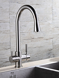 HPB Contemporary Potable Water Brushed Finish Brass One Hole Two Handles Kitchen Faucet