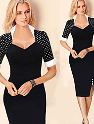 Monta Women's Vintage/Sexy/Bodycon/Casual/Print/Party/Work Stand ½ Length Sleeve Dresses (Cotton Blend/Polyester)