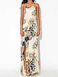Women's Elegant Sleeveless Print Full Length Maxi Dress