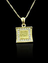 18K plaqué or véritable allah musulman pendentif zircon 2,3 * 3.4cm