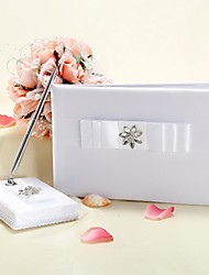White Wedding Guest Book and Pen Set With Rhinestone and Bow Sign In Book