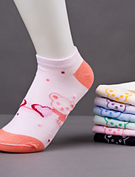Women'S Cute Cartoon Bear Pattern Casual Cotton Blends Thin Socks(Random Color)