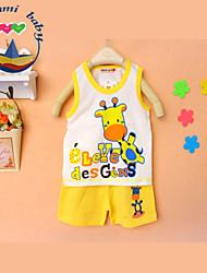 Boy's Cotton Blend Clothing Set , Summer Sleeveless