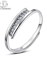 Poetry Dreams Sterling Silver Cubic Zirconia Adjustable Ring Women's Ring
