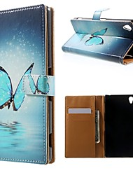 Blue Butterfly Pattern PU Leather Case with Stand and Card Holder for Sony Xperia Z3