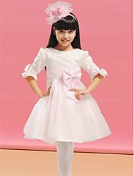 A-line Knee-length Flower Girl Dress - Organza/Satin Long Sleeve