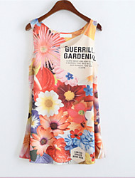 Women's Round Collar Floral Print Tank Top