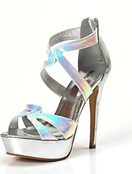 Women's Shoes Synthetic Stiletto Heel Slingback Sandals Party & Evening Black/Silver/Gold
