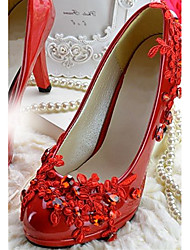 Women's Shoes Leather Chunky Heel Heels/Pointed Toe Pumps/Heels Wedding/Party & Evening Red