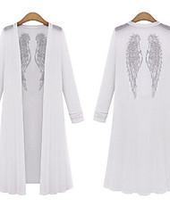 VOIN   Women's Character White Coats & Jackets , Casual Asymmetrical Long Sleeve