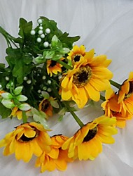 "14.5""L Set of 1 Sunny 15 Heads Sunflower Silk Cloth Flowers"