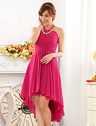 Cocktail Party Dress - Fuchsia / Champagne / Lime Green A-line Halter Asymmetrical Chiffon