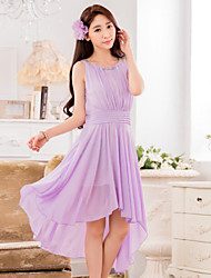 Asymmetrical Chiffon Bridesmaid Dress A-line Jewel with Beading