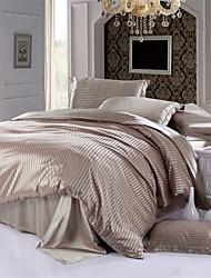 Light Coffee Stripe Imitation Silk Luxury Duvet Covers