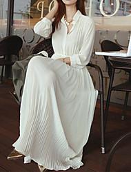 Women's Button Down Sheer Chiffon Jersey Maxi Dress