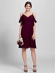 Lan ting robe de demoiselle d'honneur en mousseline de soie au genou - bretelles spaghetti a-ligne plus taille / petite avec croix croisée