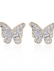 Cotton Tree Fashion Butterfly Shape Gift Alloy Stud Earrings With Rhinestone