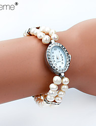 Lureme®  Europestyle Fashion Disposition  Pure Natural  Pearl Rosary Drill  Oval Wrist Watch Adjustable  Bracelet Cool Watches Unique Watches