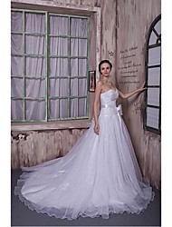 A-line Wedding Dress Cathedral Train Sweetheart Organza